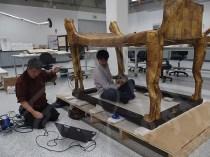 Conservators scanning Tutankhamun's Bed