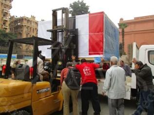 カイロ・エジプト考古学博物館での積み荷作業