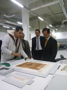 Vice-President Tomiyoshi Kenichi listening about Tutankhamun collection