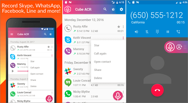 Using Cube Call Recorder ACR to Record WhatsApp Calls on Android..
