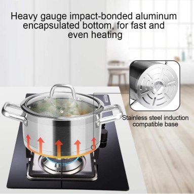 StockPot with Glass Lid Duxtop Stainless steel cookware