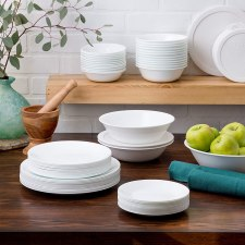 Corelle service for 12, white frost lead free dinnerware set