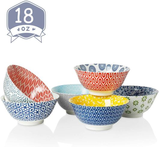 Porcelain Bowls for Cereal, Soup, Salad and Pasta.