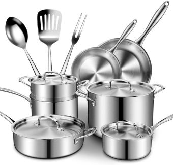 Stainless steel cookware set with sauce pan, stock pots with lids