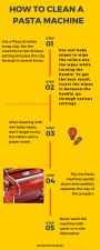 Infograph showing how to clean a pasta machine