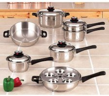 Waterless stainless steel stackable pots and pans with removable handles