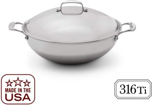 Best Wok for Induction - Titanium stainless steel Heritage Wok with Lid
