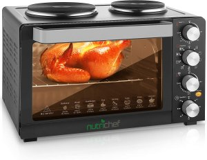 Kitchen counter top oven 2 burner electric stove with oven for grill, toaster and baking tray