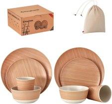 cadmium and lead free reusable bamboo dinnerware set