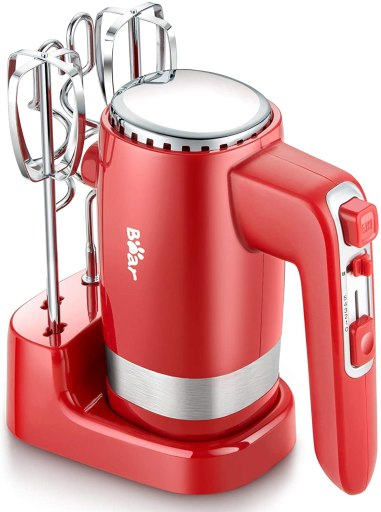 Kitchen hand mixer with storage base, stainless steel beaters and dough hooks