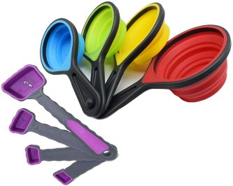 Collapsible measuring cups used for baking and ice cream