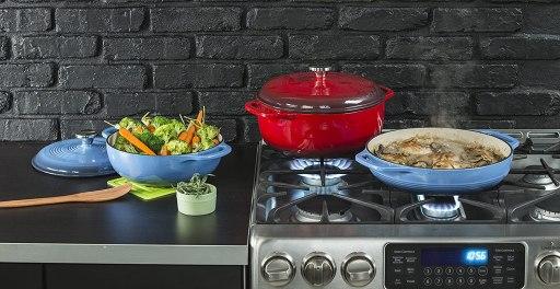 Lodge 6 Quart Enameled Cast Iron Dutch Oven. Blue Enamel Dutch Oven