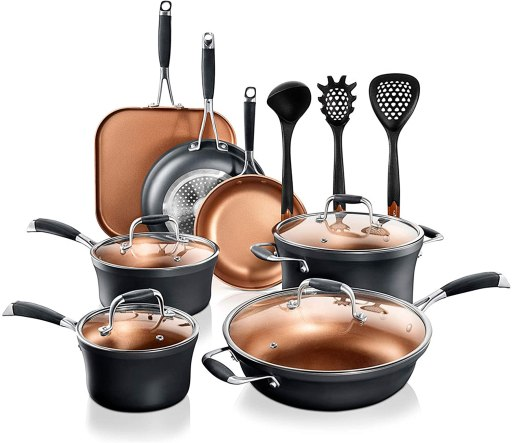 NutriChef lightweight pots and pans for elderly and weak hands