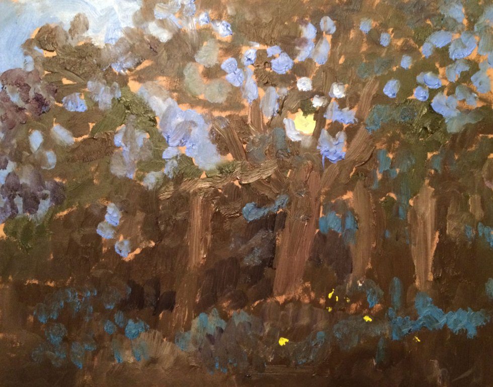 "Full Moon and Fireflies, en plein air, Summer Solstice Full Moon at Weir Farm National Park, June 2016, oil on board, 11""x14"""