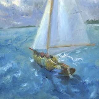 "Dinghy Race, Bermuda Day, oil on paper, 4""x6"""