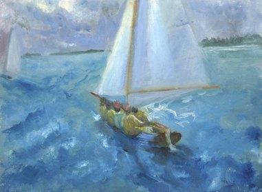 "Dinghy Race, Bermuda Day, oil on paper, 4""x6"""