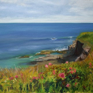 "Newport Cliff Walk, oil on canvas, 18"" x 24"""
