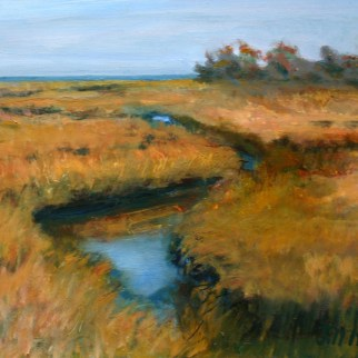 "Connecticut Salt Marsh, en plein air,oil on board, 11"" x 14"""