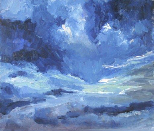 "That Dark Cloud Above Me, 11"" x 13"", Oil on Aluminum"