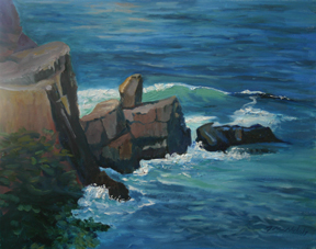 "Pulpit Rock, Monhegan, oil on canvas, 16"" x 20"""