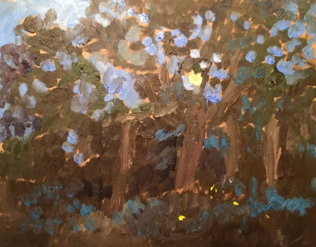 "Weir Farm, Full Moon and Fireflies, en plein air, Summer Solstice Full Moon at Weir Farm National Park, June 2016, oil on board, 11""x14"""