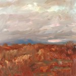 Farnese, Italy, Stormy Sunset, oil on board