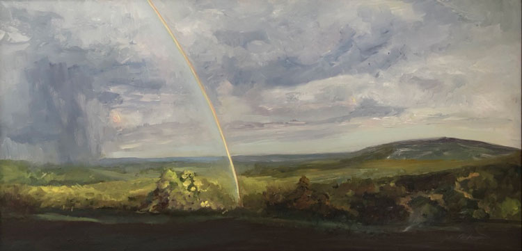 "Jill Harrington Nichols, Olana, Storm Clearing, oil on aluminum, 10"" x 20"""