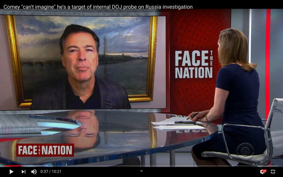 Washington D. C. Painting backdrop for James Comey interview on Face the Nation