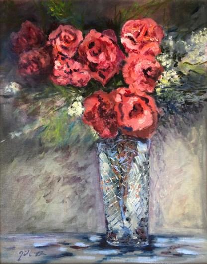 A Dozen Roses, oil on canvas