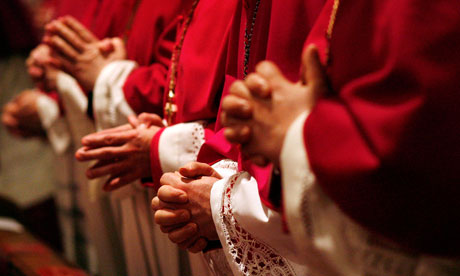 Bishops pray at the Marien Dom church