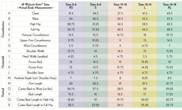 Sizing Charts: Jill Wolcott Knits Size Chart XS to XL