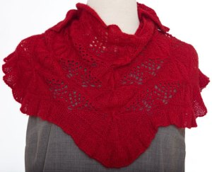 Remarkables Shawlette on the dress form