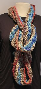 Long with soft knot Esperance Cowl in Soft Recycled Silk Ribbon