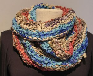 Wrapped 3x Esperance Cowl in Soft Recycled Silk Ribbon