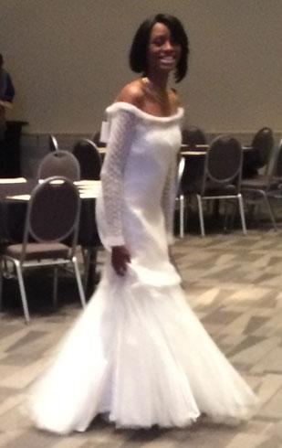TNNA fashion show in Westminster Yarn wedding dress