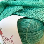 Swatch in Breeze: The yarn and a swatch