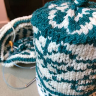 AlterKnit: Sample and hat-in-progress