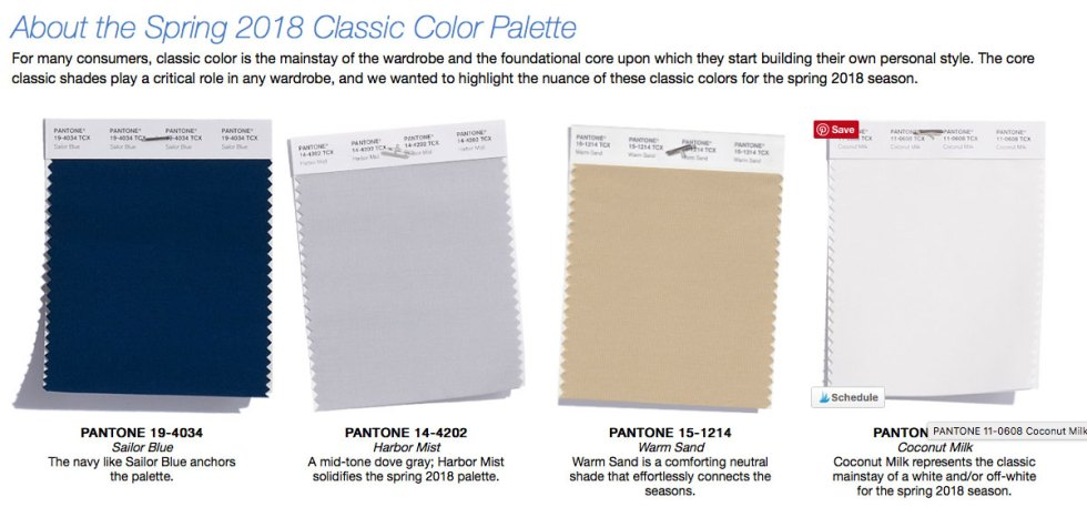 Spring 2018 Colors: Classic four