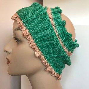 messy bun hat:worn as ear warmer
