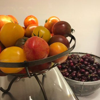 First Studio Chat: Food for thought: My summer favorites, heirloom tomatoes and bing cherries!