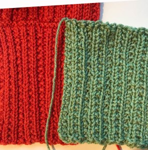 difference the gauge makes: swatches blocked and unblocked