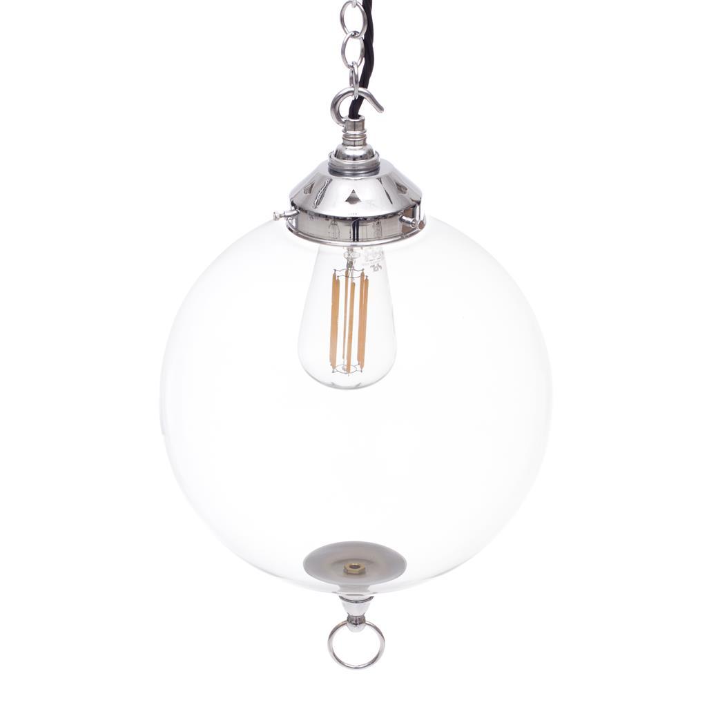 Nickel Pendant Light With Glass Shade