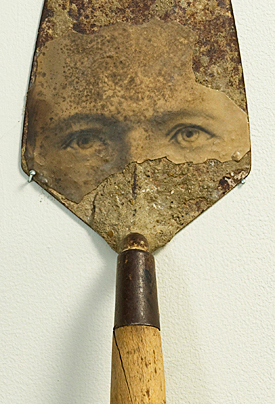 Dad (2008) 16 x 5 x 4 inches; steel and wood trowel, photographic print