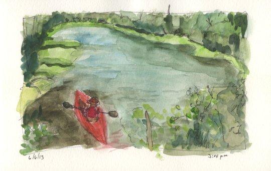 Minto Island Kayak Watercolor