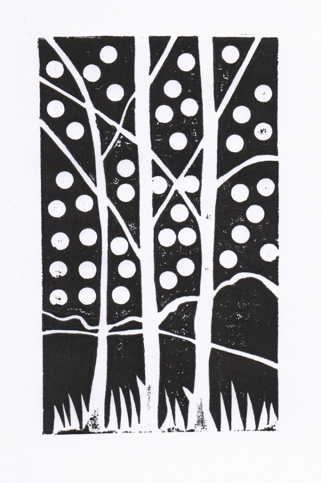 Birches Block Print