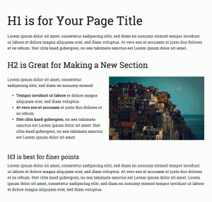 Example of using headings to break up the page