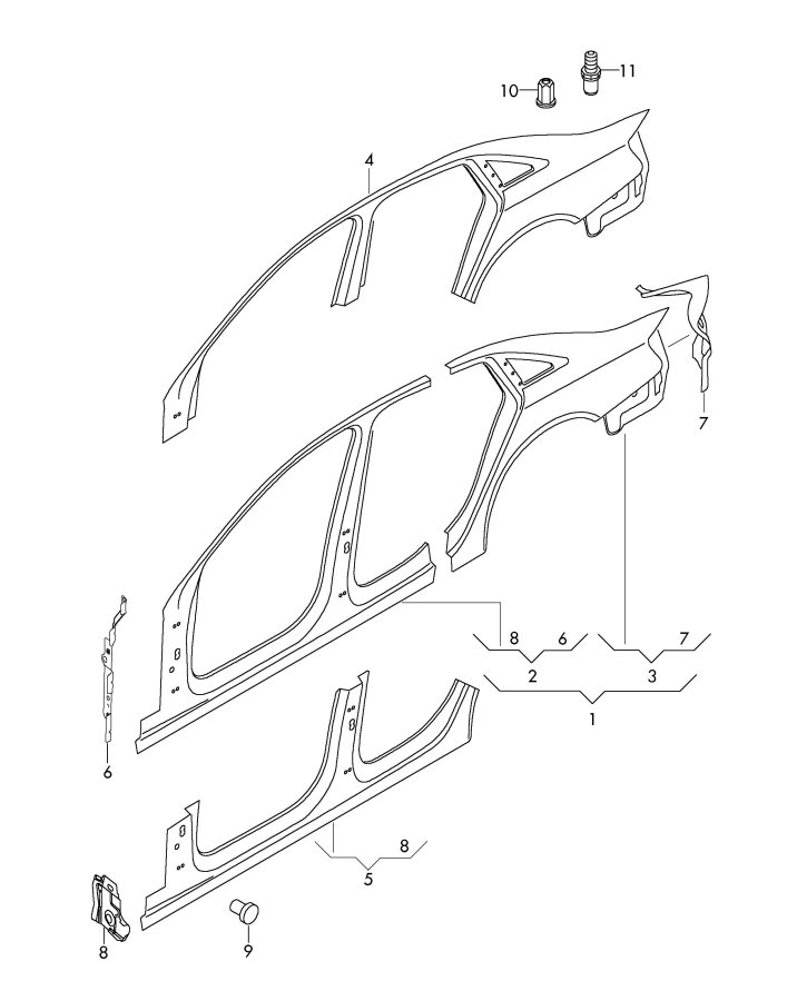 Audi A4 Avant Sectional Part Side Panel Side Panel