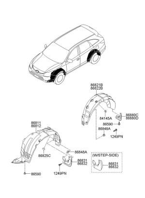 2012 Hyundai Veracruz Retainer assembly  bumper cover mounting Coverretainer, mfr, mldgrocker