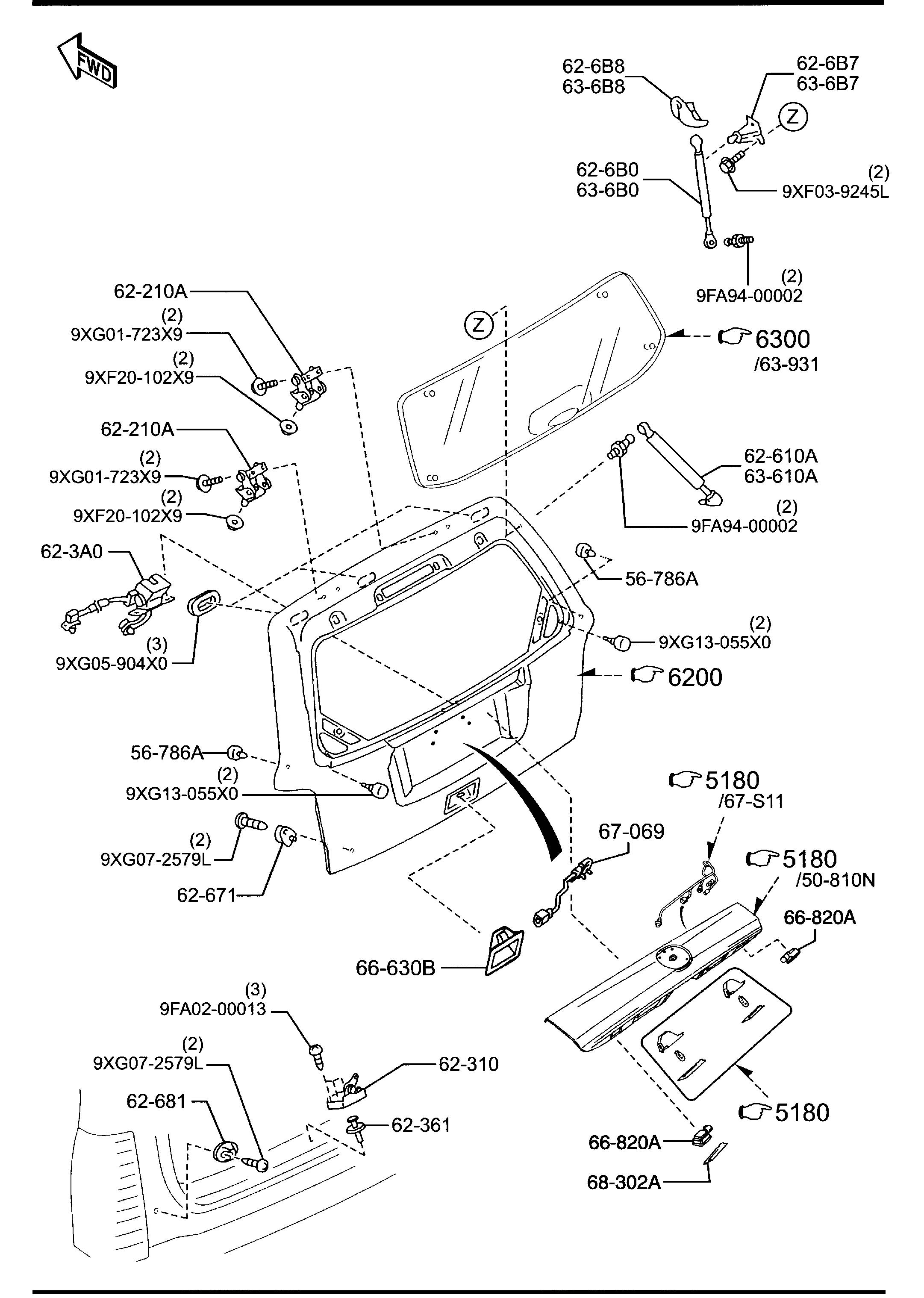 Mazda Tribute Hinge Liftgate