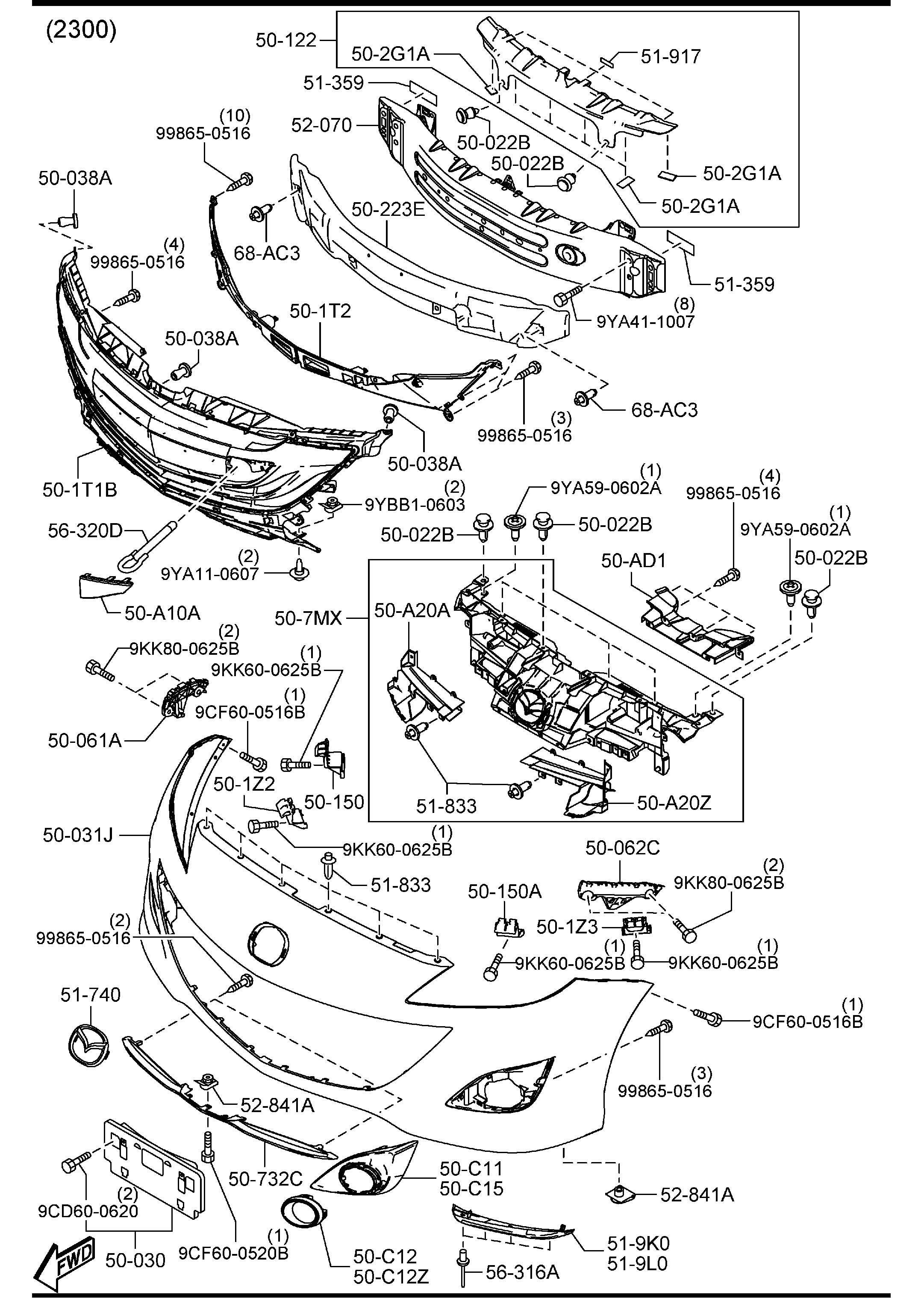 Mazda Cx 7 Front Bumper Diagram